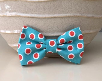 Dog Bow / Bow Tie - Turquoise w Coral Polka Dots