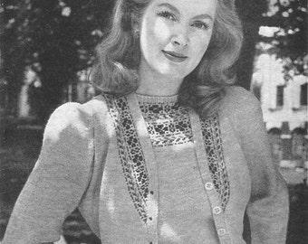 1940s Knitting Pattern for Womens Fair Isle Jumper and Cardigan - Bestway 1787 - Digital PDF