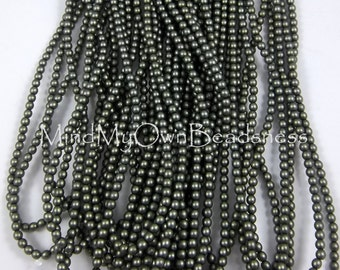 3mm Czech Glass Pearl - 85942 Russian Green Satin x 300pcs