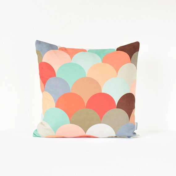 geometric decorative pillow cover in peach