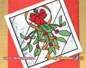 Mistletoe Card- Greeting Card- Small Card- Any Occasion- Blank Card- Christmas Card- Xmas Card- Seasons Greeting Card- Winter Card- Art Card