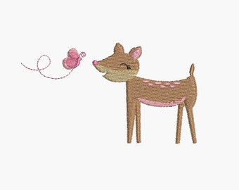 Instant download Machine Embroidery  fawn and butterfly