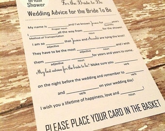 DIGITAL Bridal Shower Mad Libs!