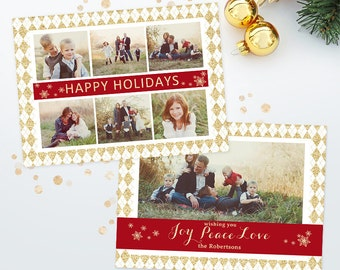 Holiday Christmas Card Template for Photographers - 5x7 Photo Card 015 - C227, INSTANT DOWNLOAD