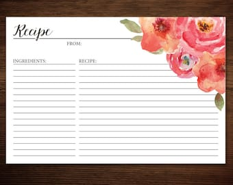 INSTANT Download - DIY Printable Recipe Card for Bridal Shower - Rustic Floral Peony