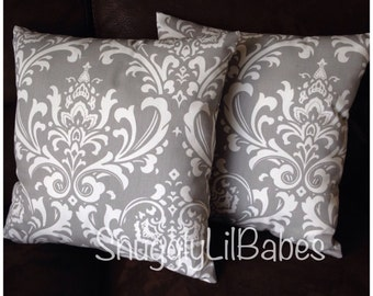 Grey damask accent pillow set, AVAIL in any pattern and colors