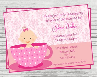 tea party baby shower invitation girl and boy version available