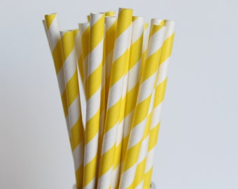 Yellow Striped Paper Straws-Yellow Straws-Striped Straws-Wedding Straws-Shower Straws-Mason Jar Straws-Party Straws-Cake Pop Sticks
