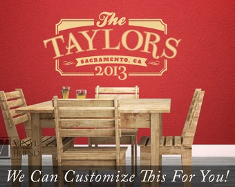 Personalized family name, year, and location The Taylors retro vintage sign wall decor vinyl decal letteing 2452