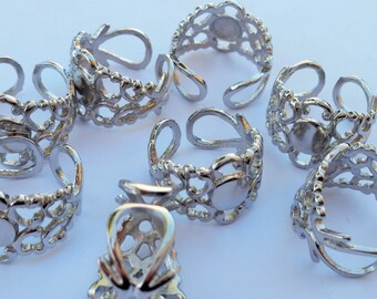 Silver Filigree Rings - Silver Brass Blank Ring Pads - Jewelry Supplies - Adjustable Filigree Ring Pads - DIY Rings