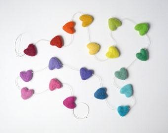 Full Rainbow Felted Heart Garland, Nursery Bunting, Kids Room Decor, Heart Banner Photo Prop, Gender Neutral Nursery Decor, Rainbow Party