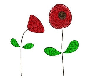 Red poppies embroidery design 4x4 and 5x7 inch hoop. Modern embroidery. Red poppy embroidery design Poppies design Modern embroidery pattern