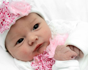 """Newborn Girl Shabby rose """"take me home outfit"""", Matching hat and Long sleeve romper set. Valentine's Day Gift Set.  Newborn hospital beanie"""