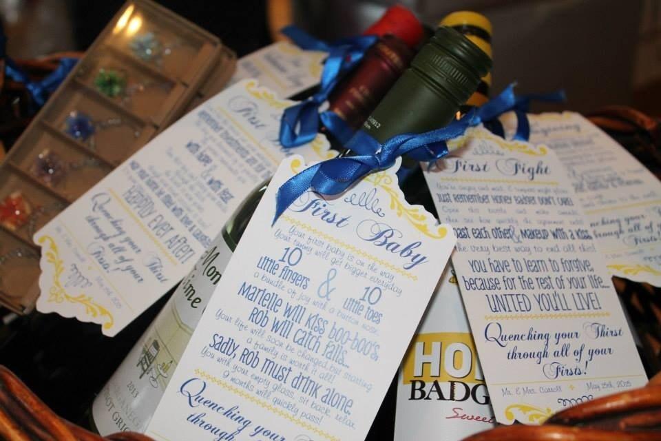 Wine Basket Wedding Gift: Year Of Firsts Wine Tag Set For Bridal Shower Wine Basket