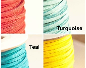 3mm Flat Faux Suede Maroon / Teal / Turquoise / Yellow 3 Metres