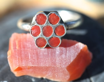 Sterling Silver, Red Coral, Zuni, Ring,Boho,Hipster,Stacking Rings,Vintage Jewelry