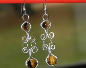 wire wrapped tiger eye earrings
