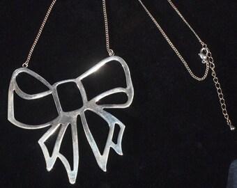Unique Large Silver Bow Necklace