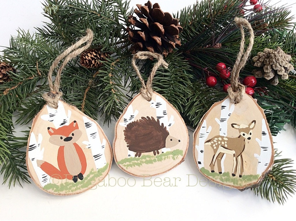 Wood Slice Ornaments Christmas Ornament Woodland Animals