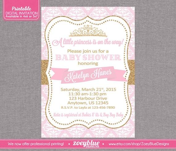 princess invitation girl baby shower invite printable princess shower