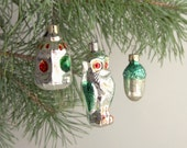Christmas Tree Glass Ornaments - Soviet vintage - set of 3 - Holiday decor - New Year baubles - silver, green and red - made in USSR