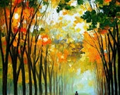"Autumn Mood — PALETTE KNIFE Landscape Modern Wall Art Textured Oil Painting On Canvas By Leonid Afremov - Size: 24"" x 30"" (60 cm x 75 cm)"