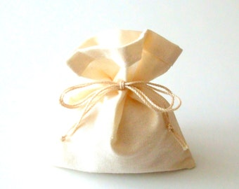 10 Favor Bags - the Beige Bride - Favor Bags - Cotton 10 pouches - Gift Bags - for Present - Jewellry - Wedding - Showers - Tie-string Bag