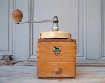 French vintage Peugot coffee grinder wood with ivory color metal top. French shabby chic kitchen. French decor. Rustic