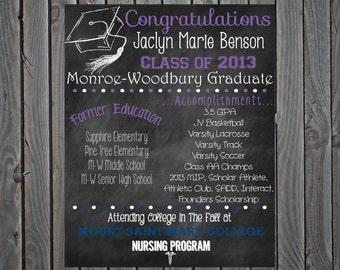 Graduation Poster Chalkboard  High School Graduation College Graduation Poster