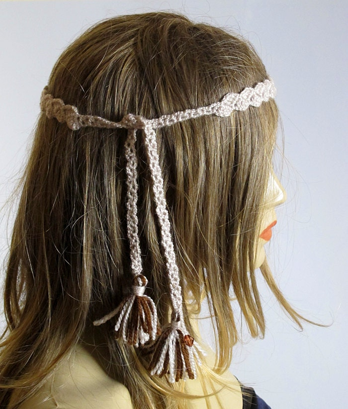 Crochet Hair Jewelry : Crochet Headband Boho bohemian Hippie Hair Accessories by selenayy
