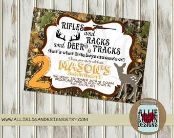 Camo - Little Boys Deer Birthday Invitation - Printed or Digital!