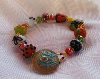Halloween lampwork and button bracelet
