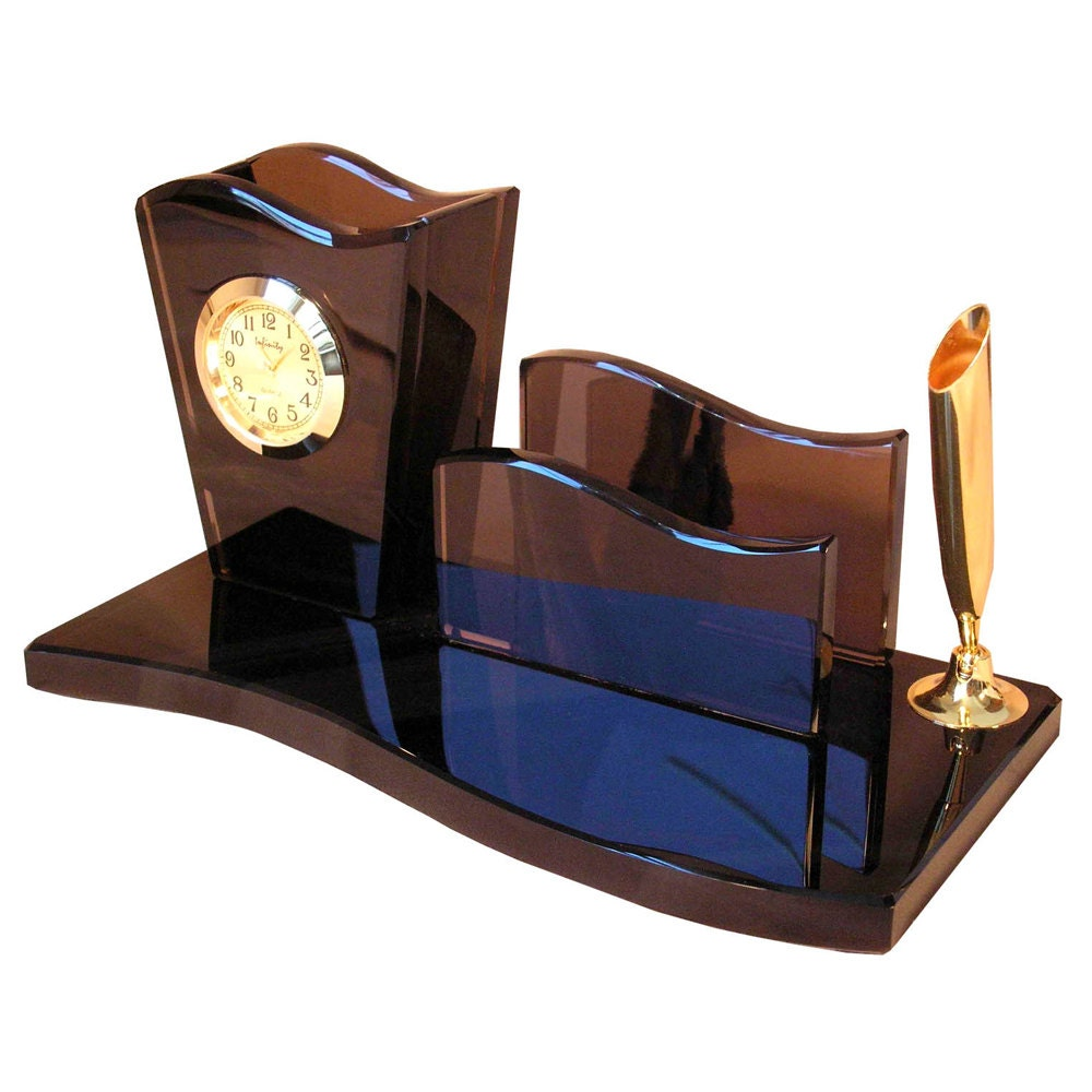 Small wave desk organizer with paper holder pencil box and
