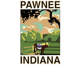 Pawnee Indiana Travel Poster- Parks and Rec