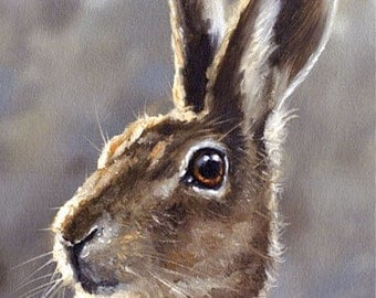 Aceo Print, Wild Hare. From an Original Painting by JOHN SILVER. Personally signed. HA002AC