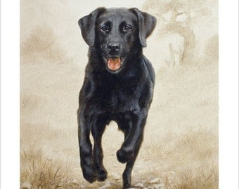 Black Labrador Retriever Limited Edition Print, Homeward Bound.  Personally signed and numbered by Award Winning Artist JOHN SILVER. JSFA90