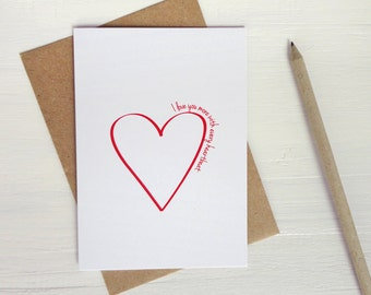 Anniversary gift I love you more with every heartbeat love card Valentine's card