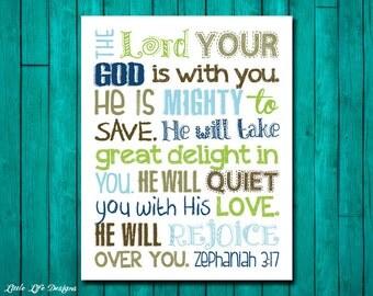 Zephaniah 3:17. Scripture. Bible Verse. Christian Art. Little Boys Wall Art. Boy Nursery Decor. God is Mighty to save. Boys Room Decor.
