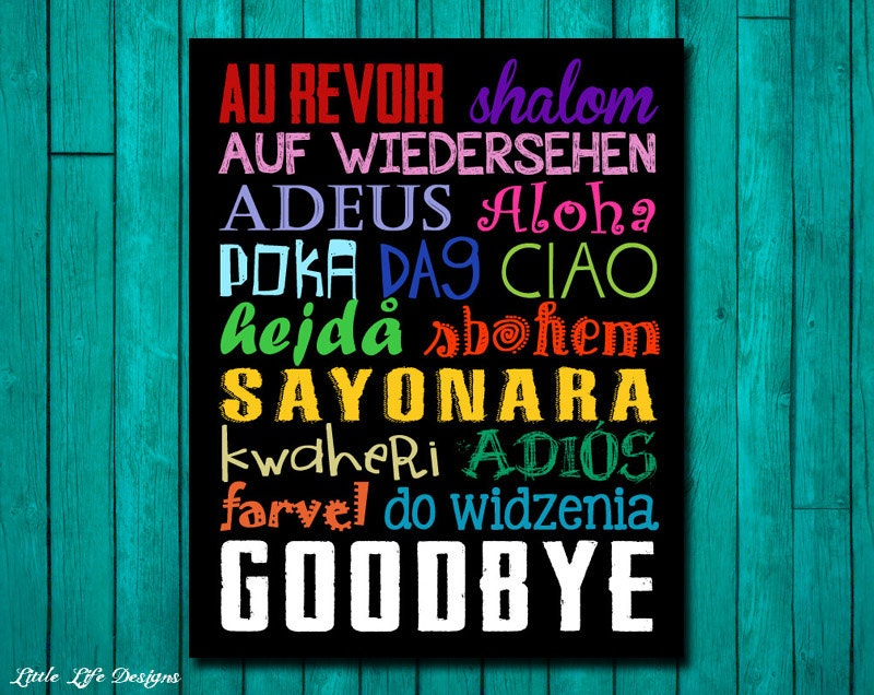 Goodbye Sign. Goodbyes in Different by LittleLifeDesigns on Etsy