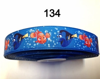 "3 or 5 yard - 7/8"" Finding Nemo The Clown Fish and Dory With Bubble Blue Grosgrain Ribbon Hair bow"