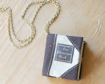 ON SALE-Journal-Diary- Our Adventure Book-Necklace-Pendant-Journey-Notebook-Imagination-Inspire-Create-Dream-Write-Gift for Her-Birthday
