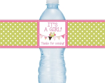 Owl Baby Shower Water Bottle Labels, INSTANT DOWNLOAD, you print, you cut, It's A Girl, DIY baby shower water bottle labels
