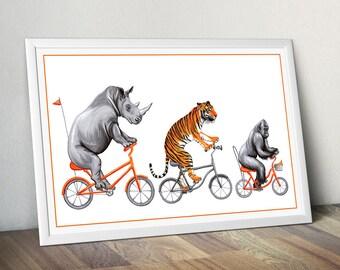 Rhino, tiger and gorilla on orange bicycle print, cycling animals, 12 x 18 print