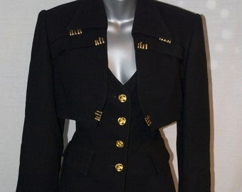 Vintage, Alberto Makali for Cache' Two Piece Jacket. Vest and Bolero SZ.4.