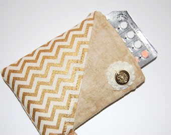Pill Pouch, Pill Case, Pill Sleeve, Small Pill Sleeve, Birth Control Sleeve, Chevron Sleeve, Gold Pill Case, Birth Control Case