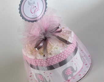 "The  ""Little Elephant"" Mini Diaper Cake. Baby Shower Centerpiece or Gift."