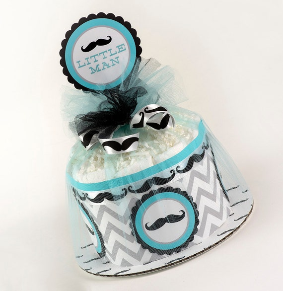 Diaper Cake - Mini Diaper Cake - Little Man Diaper Cake - Mustache Diaper Cake - Baby Shower Gift - Little Man Baby Shower