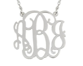 "2"" silver monogram necklace"