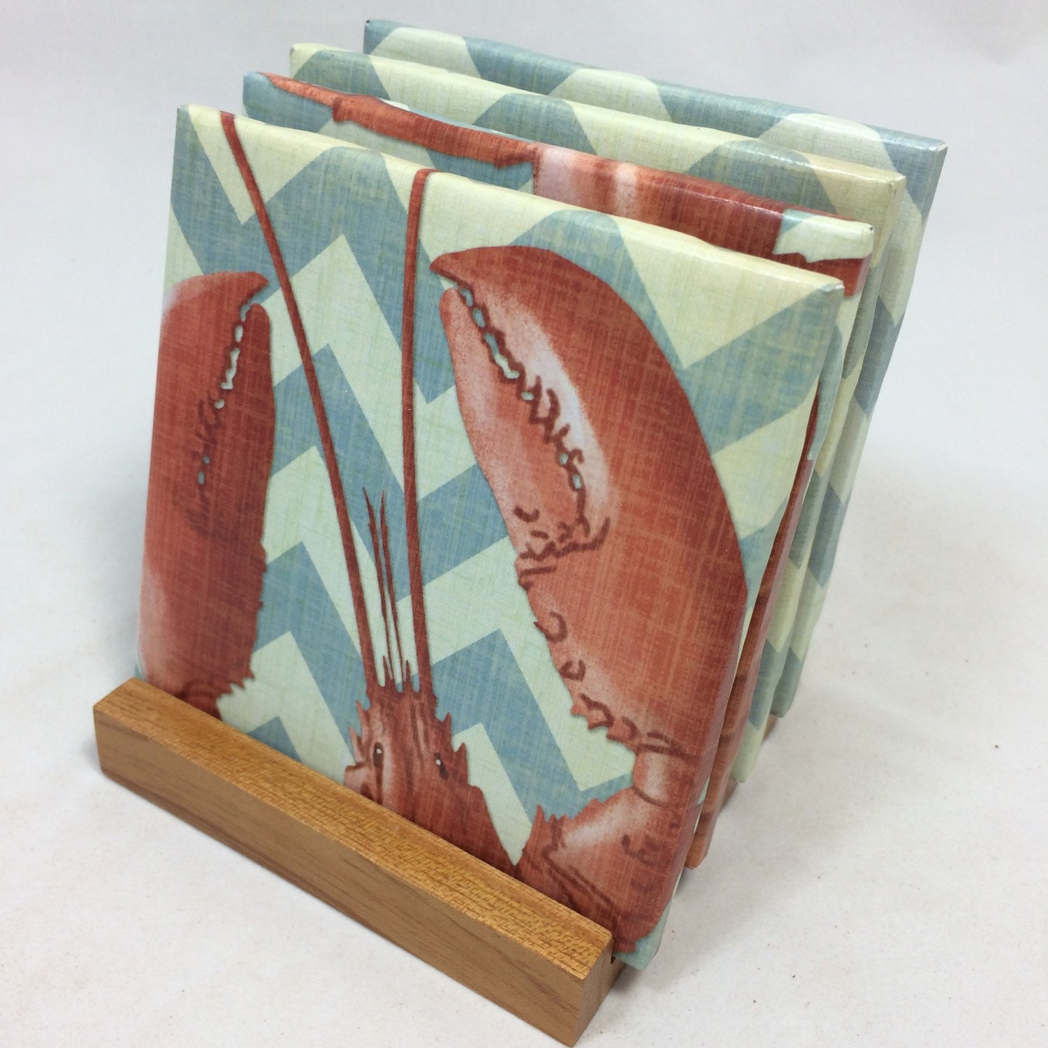 Handmade red lobster drink coasters set of by thecoasterattic for Handmade drink coasters