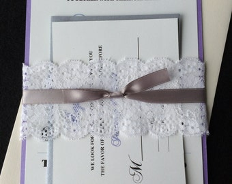 MOLLY - (100) Lace Wedding Invitations, DIY Pricing, Purple Wedding Invitation, Customizable